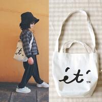 日系男女儿童文艺斜挎包字母帆布包单肩包童装配饰包挂包