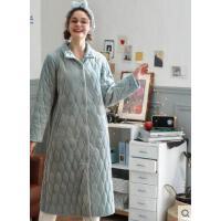 秋冬珊瑚绒夹棉晨袍时尚长款可外穿外套家居服情侣睡袍男女