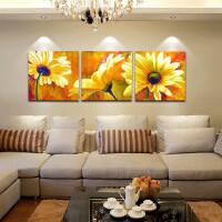 客厅装饰画现代简约三联画餐厅壁画向日葵床头挂画沙发背景墙画花SN5494 实物拍摄 需定制90*90cm*3 拼套