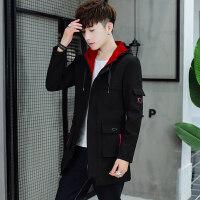 男士外套春秋季2018新款韩版潮流修身帅气中长款风衣男装休闲夹克