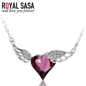 皇家莎莎珠宝饰品微镶925银项链女款心形天使之翼银饰锁骨链仿水晶吊坠首饰品