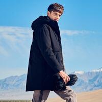 英爵伦 男士中长款羽绒服 2019冬季多口袋工装撞色连帽白鸭绒外套