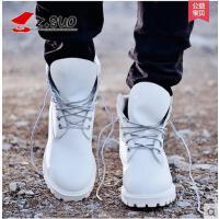 Z.Suo/走索男鞋冬季靴子男马丁靴男白色英伦皮靴情侣靴军靴短靴10061