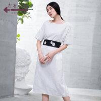 生活在左2019夏季新款女装纯色简约休闲全棉短袖连衣裙中长款女
