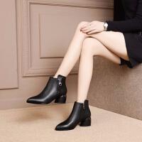 尖头粗跟短靴女冬皮靴中跟马丁鞋靴春秋单靴加绒靴子粗跟女靴子女