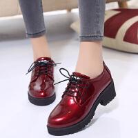 同款小皮鞋厚底伦风系带女秋季松糕鞋2018新款高跟漆皮单鞋