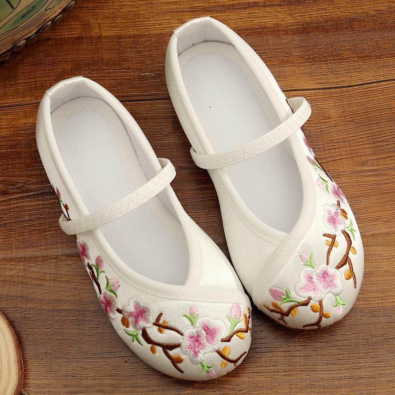老北京儿童手工布鞋女童绣花鞋民族风舞蹈表演出鞋汉服童鞋公主鞋