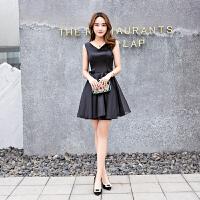 黑色晚礼服女短款夏季优雅显收小礼服派对晚宴小礼服裙女