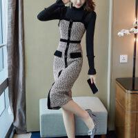 中长款毛呢针织连衣裙秋冬装2018新款毛衣配背带裙子两件套女冬季 图片色