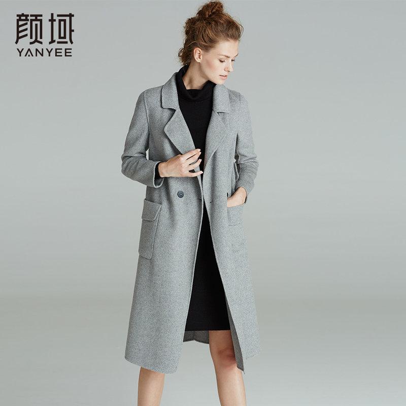 颜域品牌女装2017冬装新款欧美西装领长袖外套长款双面呢大衣女冬经典羊毛面料,舒适柔软
