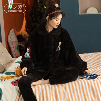 轩之婷 珊瑚绒睡衣女秋冬季时尚可外穿加厚加绒保暖套装冬天法兰绒家居服