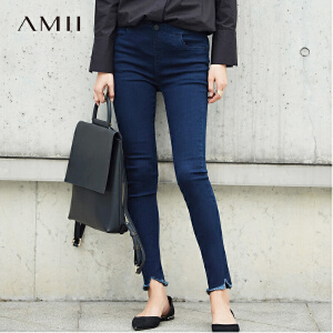 【品牌团 1件7折/2件5折】Amii[极简主义]2017秋装新品摇滚范磨边显瘦牛仔裤11760724