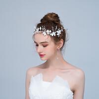 结婚新款手工花环发带发绳超仙礼服婚纱配饰品女