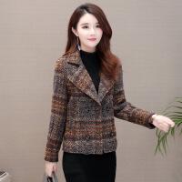 格子毛呢外套女短款韩版2018秋冬新款小个子洋气修身收腰加厚呢子
