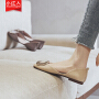 【活动中】小红人中空单鞋女2019春款百搭平底鞋方头水钻浅口一脚蹬单鞋女夏 PU