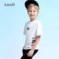 【3件3折:41.7】安奈儿童装男童T恤夏季新款全棉短袖印花T恤EB831260