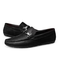 潮豆豆鞋男春天韩版潮流鞋子男士磨砂头层牛皮休闲鞋卡其色皮鞋 37 标准皮鞋码