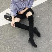 2019wPt0yNwsPG冬季高筒新款过膝靴女平底瘦瘦靴显瘦小辣椒长筒靴 黑【绒里】 35