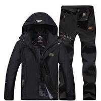 户外保暖冲锋衣裤 男女运动休闲加绒加厚 防风防寒透气套装