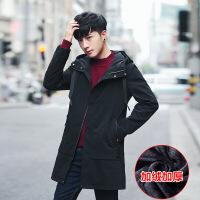 男士外套秋冬季加绒加厚韩版修身潮流帅气中长款风衣男装休闲夹克 X