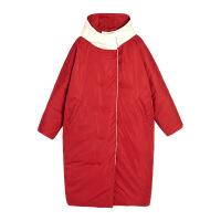 两面穿连帽羽绒服女冬季2018新款韩版宽松中长款轻薄过膝加厚外套 米白拼红