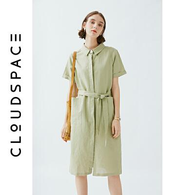 云上生活2019夏新款文艺裙子中长款短袖气质棉麻连衣裙L3602