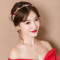 新娘头饰森系发带红色发饰仙美发箍敬酒礼服结婚饰品