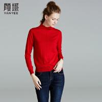 颜域品牌女装2017冬装新款品牌羊毛衫修身显瘦长袖百搭高领毛衣女
