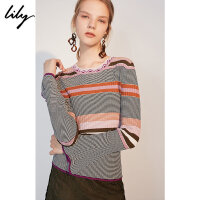 Lily春新款女装时髦撞色条纹收腰喇叭袖针织衫118340B8665