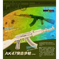 包邮若态3d立体拼图 木质仿真枪模型玩具 儿童拼插拼装AK47突击步枪