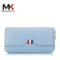 莫尔克(MERKEL)2018新款韩版女士真皮手拿包头层牛皮长款多卡位手机拉链钱包