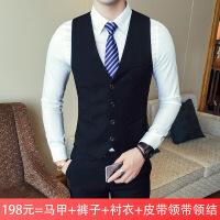 西服套装男士三件套韩版修身职业正装西装伴郎团兄弟新郎结婚礼服NS01 黑色 马甲+裤子+套餐