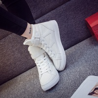 春秋款高帮鞋女学生休闲百搭平底运动鞋白色高邦板鞋