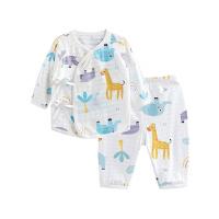 婴儿内衣套装纯棉和尚服新生儿睡衣两用裆小鹿大象两用裆合同套