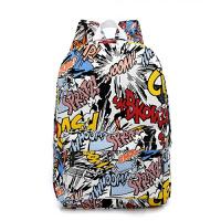 韩版潮流男中学生书包休闲学院风双肩包卡通涂鸦印花帆布女包背包