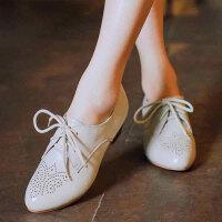 娜箐箐韩版牛皮粗跟中跟系带尖头布洛克女鞋小白鞋单鞋