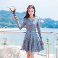 蕾丝连衣裙女2018早秋新款裙装长袖修身显瘦淑女裙法式少女茶歇裙 浅蓝色