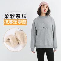 加绒加厚卫衣女宽松套头圆领拼接2018冬季新款韩版保暖羊羔绒上衣