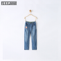 JEEP童装 女童直筒牛仔裤中大儿童宽松户外长裤子2018春季新款