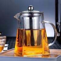 茶壶 家用耐热玻璃不锈钢过滤花茶煮泡茶壶子耐高温天圆地方加厚红茶绿茶C形防滑水壶