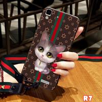 oppo r7手机壳保护套r7s手机套硅胶全包软壳RENO男女款 r7plus oppo r7 猫 黑
