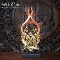 泰国摆件实木手工雕刻摆件莲花摆件客厅玄关柜装饰品摆件