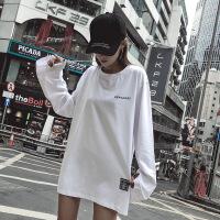加绒打底衫女长袖秋冬2018新款内搭加厚白色t恤女中长款宽松体恤 白色常规 S