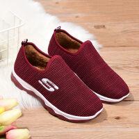 新款冬季老北京布鞋女士棉靴平底加厚防滑妈妈鞋中老年一脚蹬棉鞋