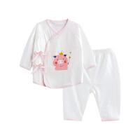 婴儿内衣套装纯棉和尚服新生儿睡衣两用裆魔法小猪两用裆合同套