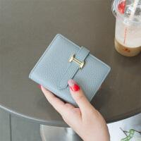 新款欧美皮小钱包女短款头层牛皮H扣抽带简约迷你钱夹卡位