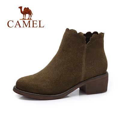 Camel/骆驼女鞋 冬季新款 简约复古方跟踝靴女 英伦风反绒女靴短靴