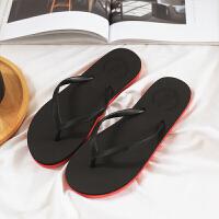 新品夏季人字拖女士平底凉拖鞋欧美简约纯色橡胶沙滩鞋人字拖
