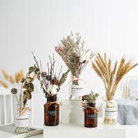 北欧干花花束装饰品摆件创意树枝真棉花带花瓶套装家居小摆设