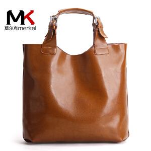 莫尔克(MERKEL)欧美新款潮子母牛皮女包托特水桶包英伦复古女士手提简约斜跨单肩大包袋